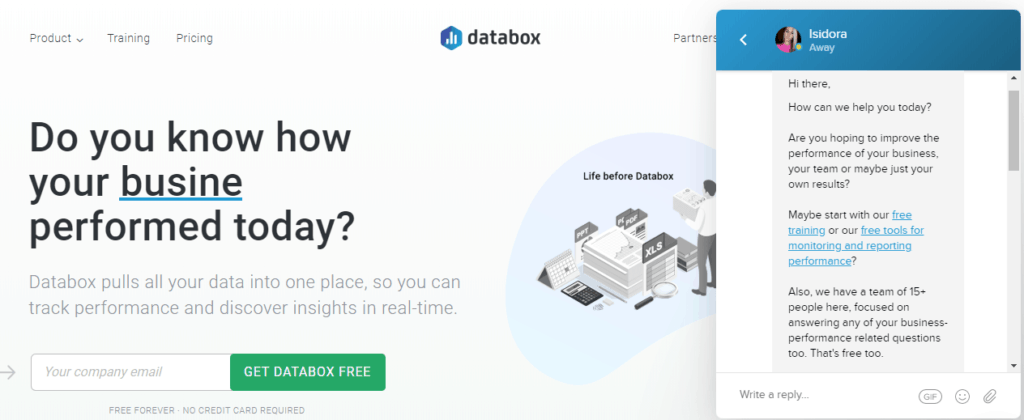 Databox conversational marketing example